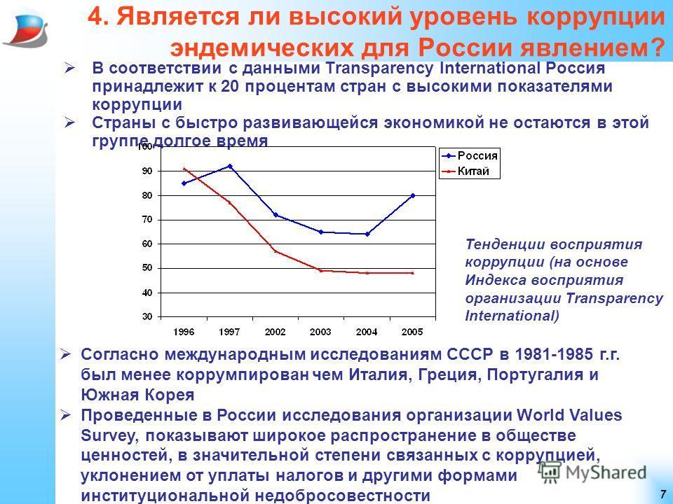 7 4. Является ли высокий уровень коррупции эндемических для России явлением? В соответствии с данными Transparency International Россия принадлежит к 20 процентам стран с высокими показателями коррупции Страны с быстро развивающейся экономикой не ост