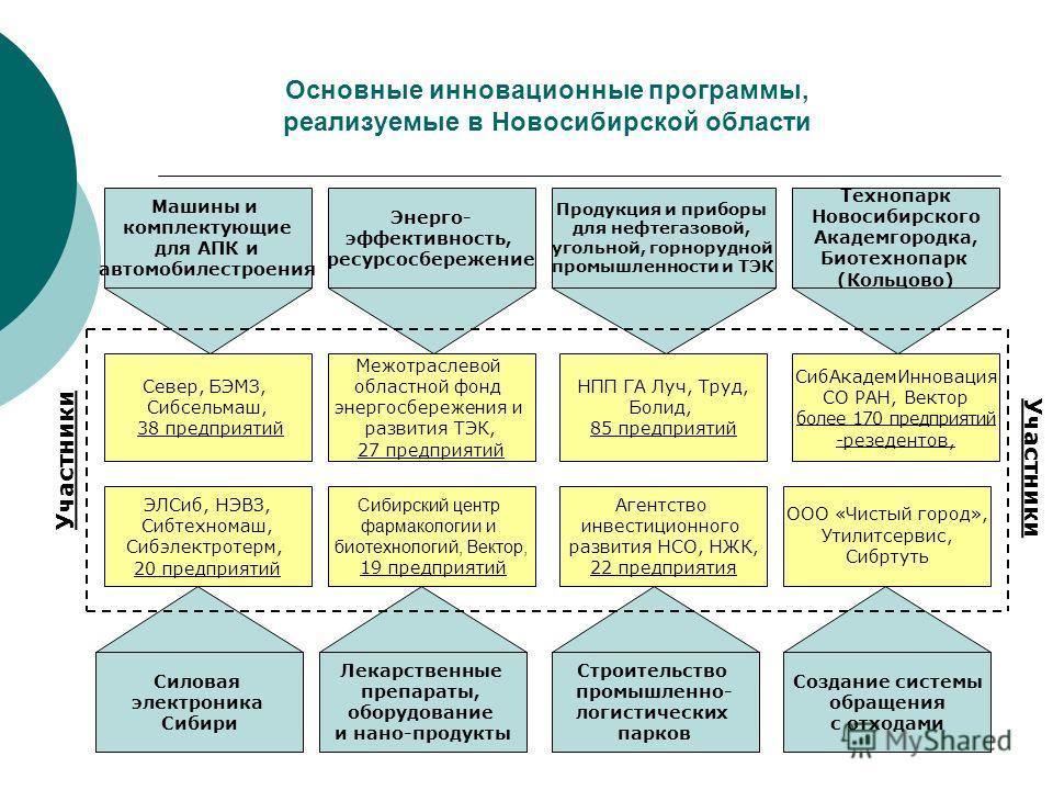 Основные инновационные программы, реализуемые в Новосибирской области Машины и комплектующие для АПК и автомобилестроения Энерго- эффективность, ресурсосбережение Продукция и приборы для нефтегазовой, угольной, горнорудной промышленности и ТЭК Техноп
