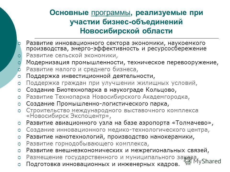 Основные программы, реализуемые при участии бизнес-объединений Новосибирской области Развитие инновационного сектора экономики, наукоемкого производства, энерго-эффективность и ресурсосбережение Развитие сельской экономики, Модернизация промышленност