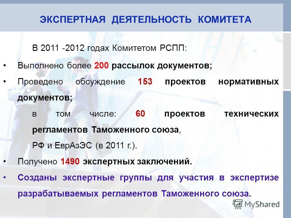 ЭКСПЕРТНАЯ ДЕЯТЕЛЬНОСТЬ КОМИТЕТА В 2011 -2012 годах Комитетом РСПП: Выполнено более 200 рассылок документов; Проведено обсуждение 153 проектов нормативных документов; в том числе: 60 проектов технических регламентов Таможенного союза, РФ и ЕврАзЭС (в
