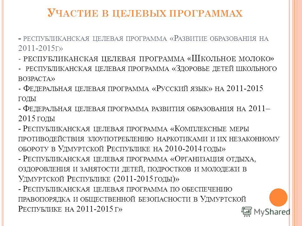 У ЧАСТИЕ В ЦЕЛЕВЫХ ПРОГРАММАХ - РЕСПУБЛИКАНСКАЯ ЦЕЛЕВАЯ ПРОГРАММА «Р АЗВИТИЕ ОБРАЗОВАНИЯ НА 2011-2015 Г » - РЕСПУБЛИКАНСКАЯ ЦЕЛЕВАЯ ПРОГРАММА «Ш КОЛЬНОЕ МОЛОКО » - РЕСПУБЛИКАНСКАЯ ЦЕЛЕВАЯ ПРОГРАММА «З ДОРОВЬЕ ДЕТЕЙ ШКОЛЬНОГО ВОЗРАСТА » - Ф ЕДЕРАЛЬНАЯ