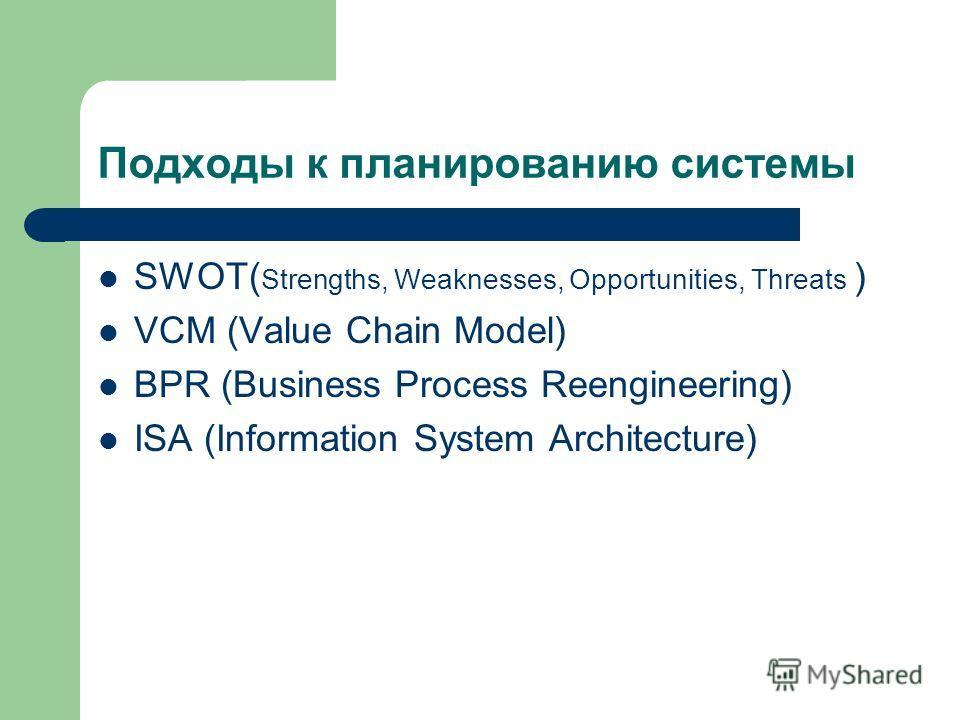 Подходы к планированию системы SWOT( Strengths, Weaknesses, Opportunities, Threats ) VCM (Value Chain Model) BPR (Business Process Reengineering) ISA (Information System Architecture)