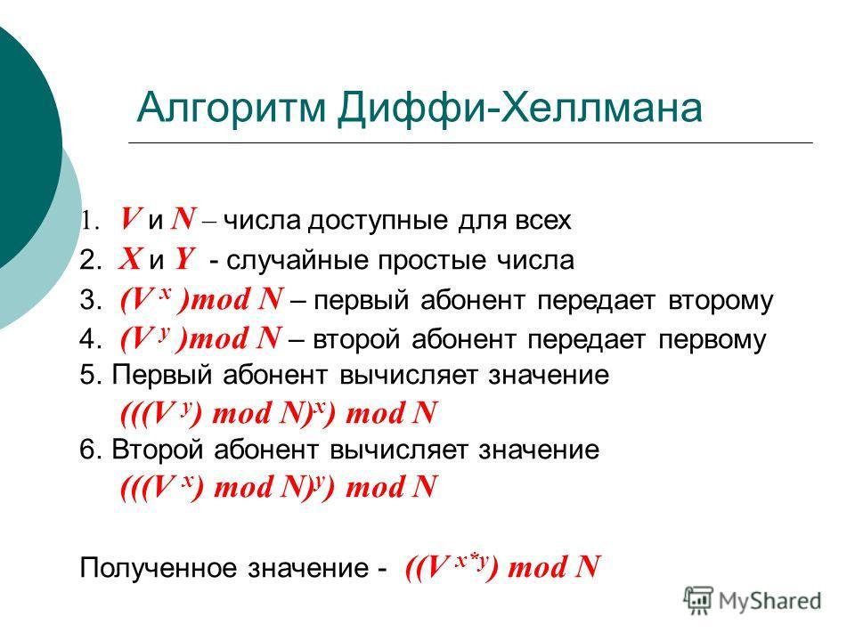 Алгоритм Диффи-Хеллмана 1. V и N – числа доступные для всех 2. X и Y - случайные простые числа 3. (V x )mod N – первый абонент передает второму 4. (V y )mod N – второй абонент передает первому 5.Первый абонент вычисляет значение (((V y ) mod N) x ) m