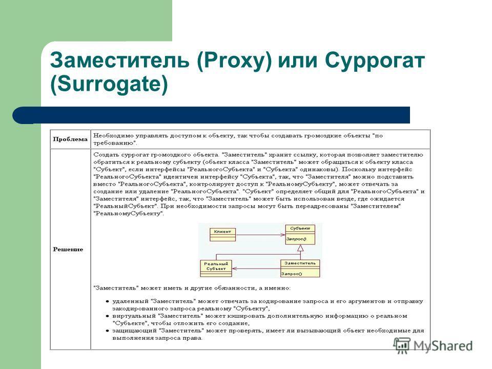Заместитель (Proxy) или Суррогат (Surrogate)