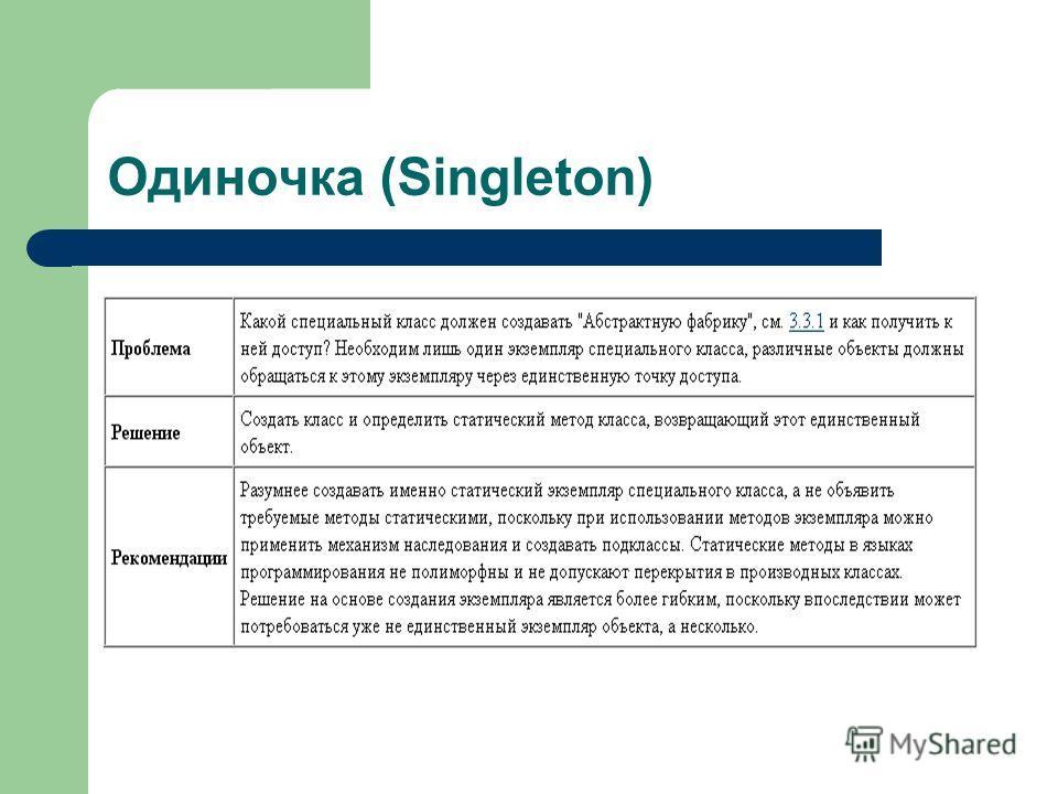 Одиночка (Singleton)