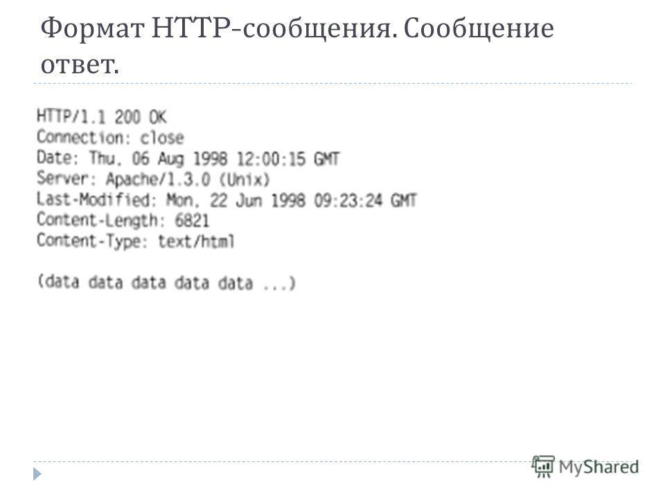 Формат HTTP- сообщения. Сообщение ответ.