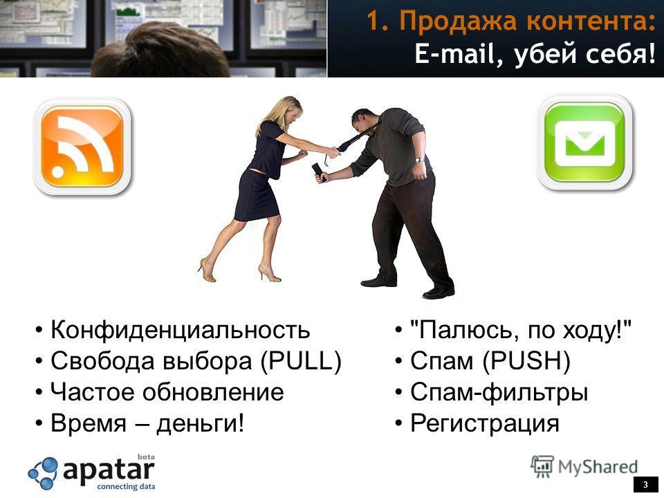 3 E-mail, убей себя! Палюсь, по ходу! Спам (PUSH) Спам-фильтры Регистрация Конфиденциальность Свобода выбора (PULL) Частое обновление Время – деньги! 1. Продажа контента: