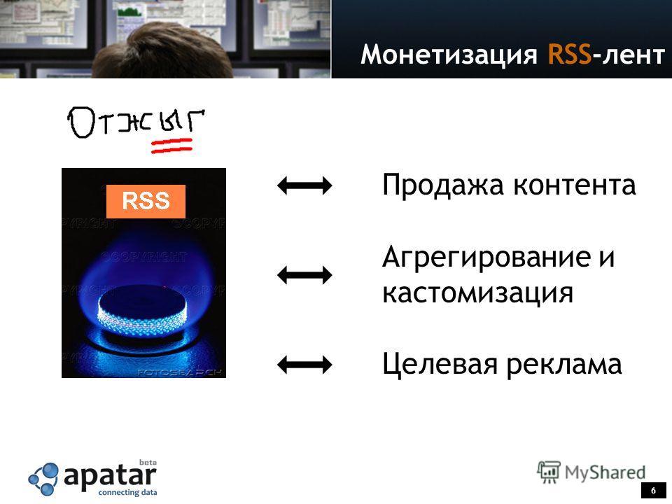 6 Монетизация RSS-лент Продажа контента Агрегирование и кастомизация Целевая реклама