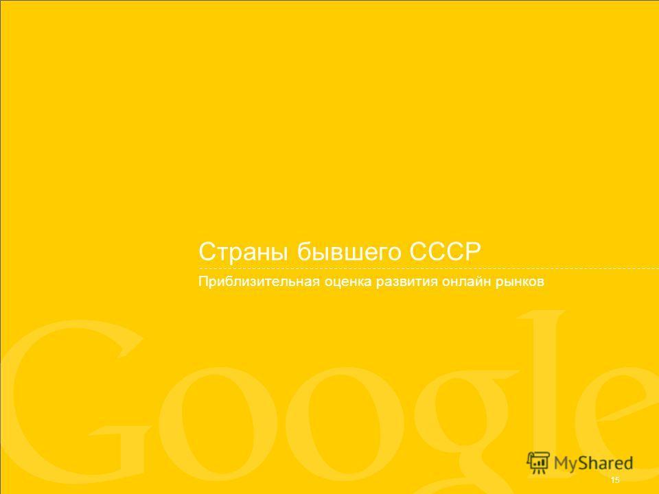 15 Страны бывшего СССР Приблизительная оценка развития онлайн рынков