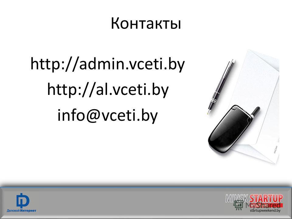 Контакты http://admin.vceti.by http://al.vceti.by info@vceti.by