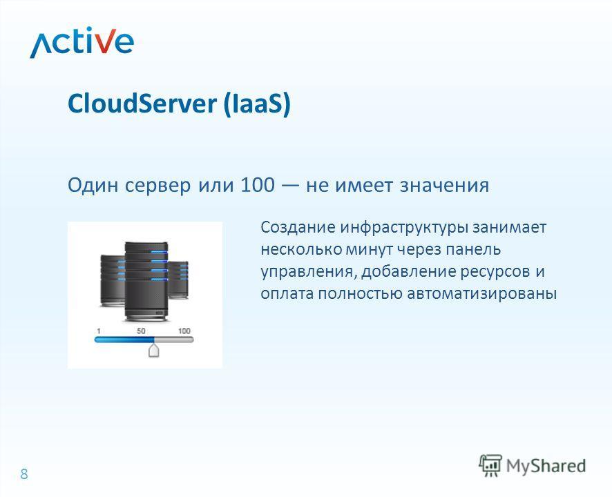 8 СloudServer (IaaS) Создание инфраструктуры занимает несколько минут через панель управления, добавление ресурсов и оплата полностью автоматизированы Один сервер или 100 не имеет значения