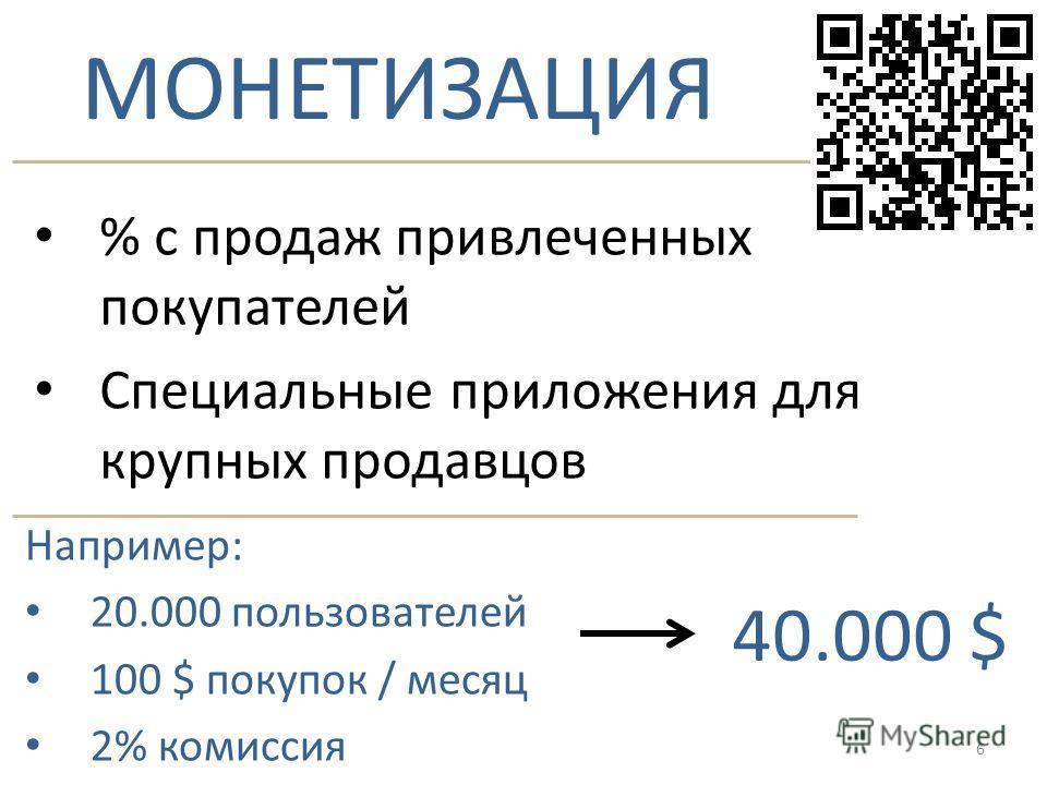 МОНЕТИЗАЦИЯ % с продаж привлеченных покупателей Специальные приложения для крупных продавцов Например: 20.000 пользователей 100 $ покупок / месяц 2% комиссия 40.000 $ 6