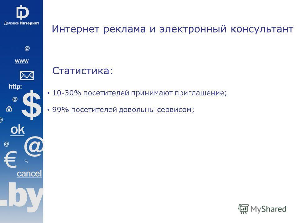 Статистика: 10-30% посетителей принимают приглашение; 99% посетителей довольны сервисом; Интернет реклама и электронный консультант