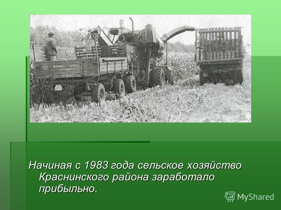 Начиная с 1983 года сельское хозяйство Краснинского района заработало прибыльно.