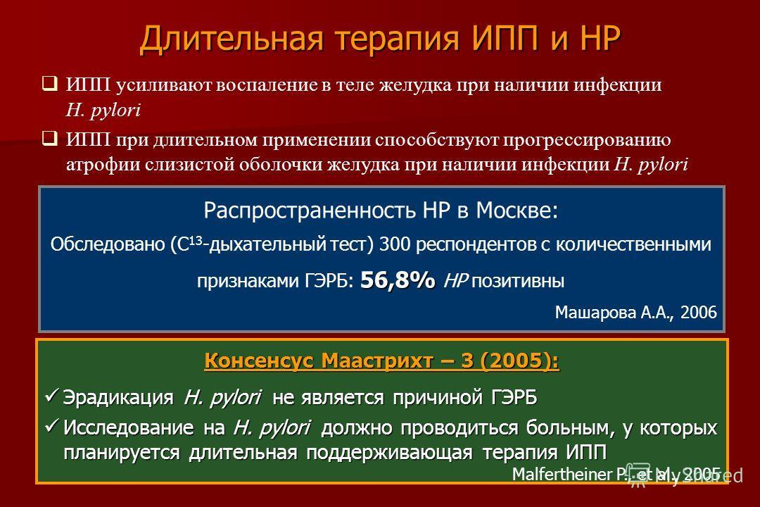 Распространенность НР в Москве: 56,8% Обследовано (С 13 -дыхательный тест) 300 респондентов с количественными признаками ГЭРБ: 56,8% НР позитивны Машарова А.А., 2006 Консенсус Маастрихт – 3 (2005): Эрадикация H. pylori не является причиной ГЭРБ Эради