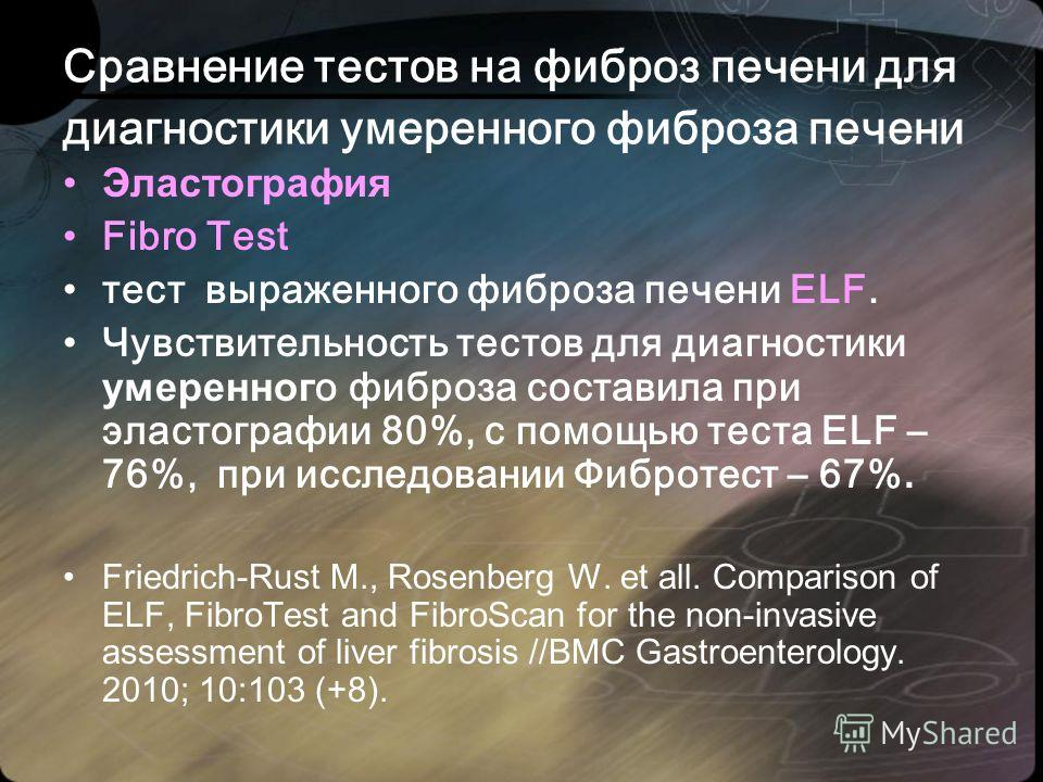 Сравнение тестов на фиброз печени для диагностики умеренного фиброза печени Эластография Fibro Test тест выраженного фиброза печени ELF. Чувствительность тестов для диагностики умеренног о фиброза составила при эластографии 80%, с помощью теста ELF –