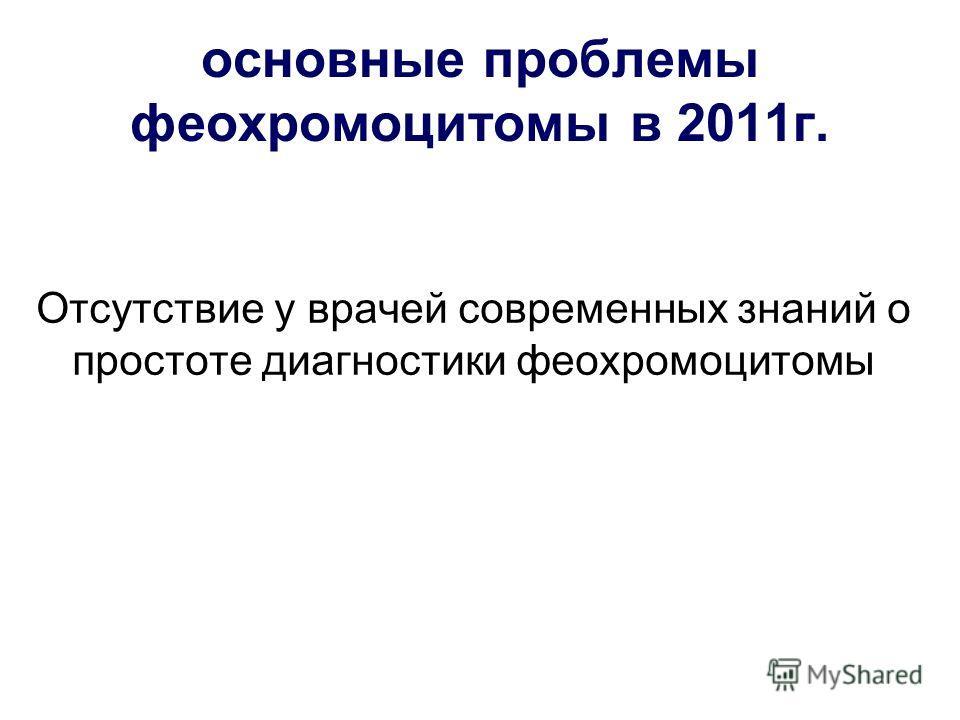 основные проблемы феохромоцитомы в 2011г. Отсутствие у врачей современных знаний о простоте диагностики феохромоцитомы