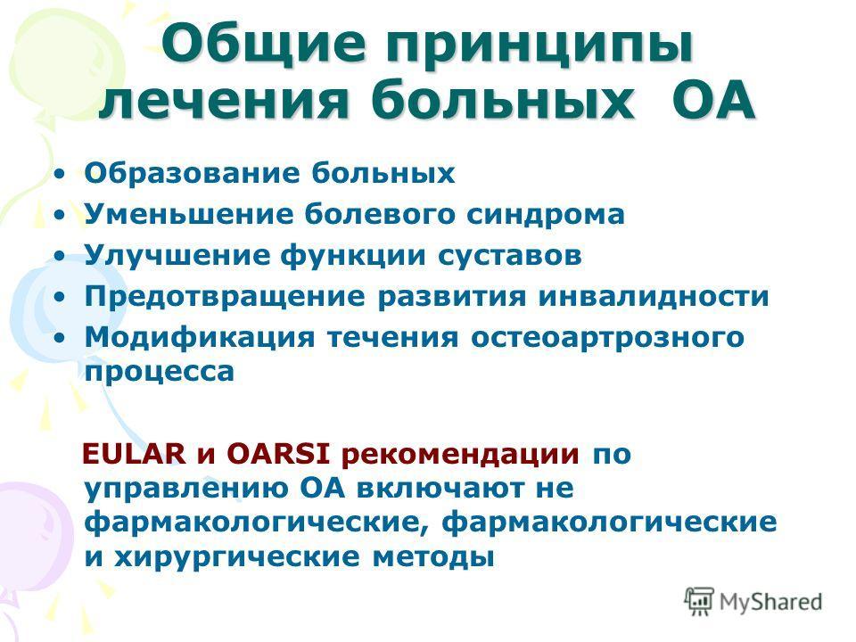 Общие принципы лечения больных ОА Образование больных Уменьшение болевого синдрома Улучшение функции суставов Предотвращение развития инвалидности Модификация течения остеоартрозного процесса EULAR и OARSI рекомендации по управлению ОА включают не фа