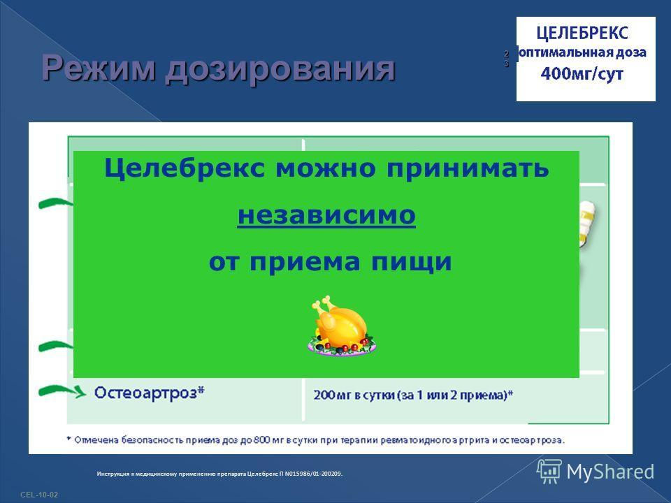 Целебрекс можно принимать независимо от приема пищи CEL-10-02 23232323 Инструкция к медицинскому применению препарата Целебрекс П N015986/01-200209.