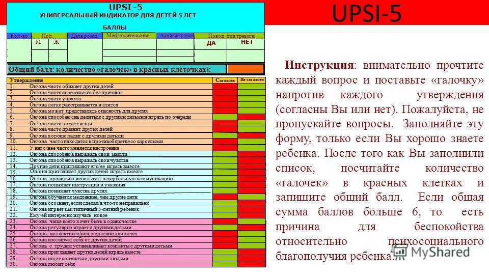 UPSI-5 Инструкция: внимательно прочтите каждый вопрос и поставьте «галочку» напротив каждого утверждения (согласны Вы или нет). Пожалуйста, не пропускайте вопросы. Заполняйте эту форму, только если Вы хорошо знаете ребенка. После того как Вы заполнил