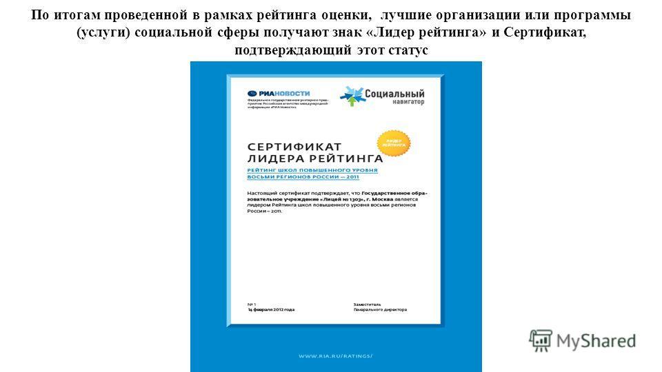 По итогам проведенной в рамках рейтинга оценки, лучшие организации или программы (услуги) социальной сферы получают знак «Лидер рейтинга» и Сертификат, подтверждающий этот статус
