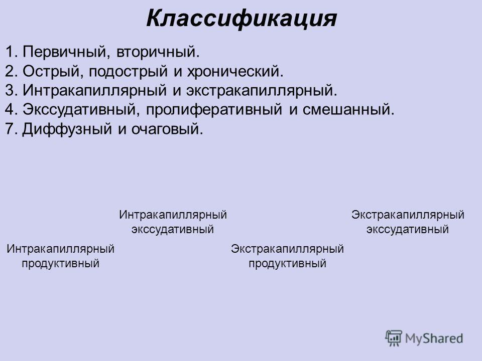 1. Первичный, вторичный. 2. Острый, подострый и хронический. 3. Интракапиллярный и экстракапиллярный. 4. Экссудативный, пролиферативный и смешанный. 7. Диффузный и очаговый. Классификация Интракапиллярный продуктивный Интракапиллярный экссудативный Э