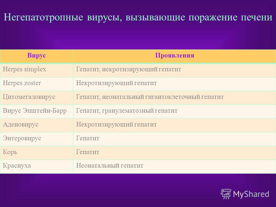 ВирусПроявления Herpes simplexГепатит, некротизирующий гепатит Herpes zosterНекротизирующий гепатит ЦитомегаловирусГепатит, неонатальный гигантоклеточный гепатит Вирус Эпштейн-БаррГепатит, гранулематозный гепатит АденовирусНекротизирующий гепатит Энт