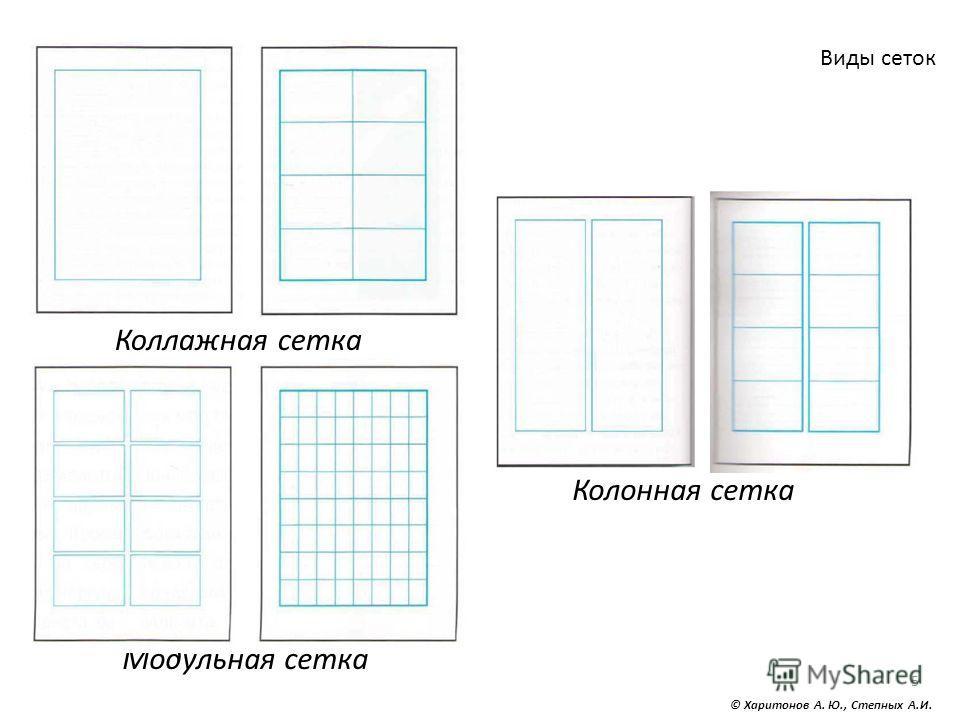 5 Виды сеток © Харитонов А. Ю., Степных А.И. Коллажная сетка Колонная сетка Модульная сетка