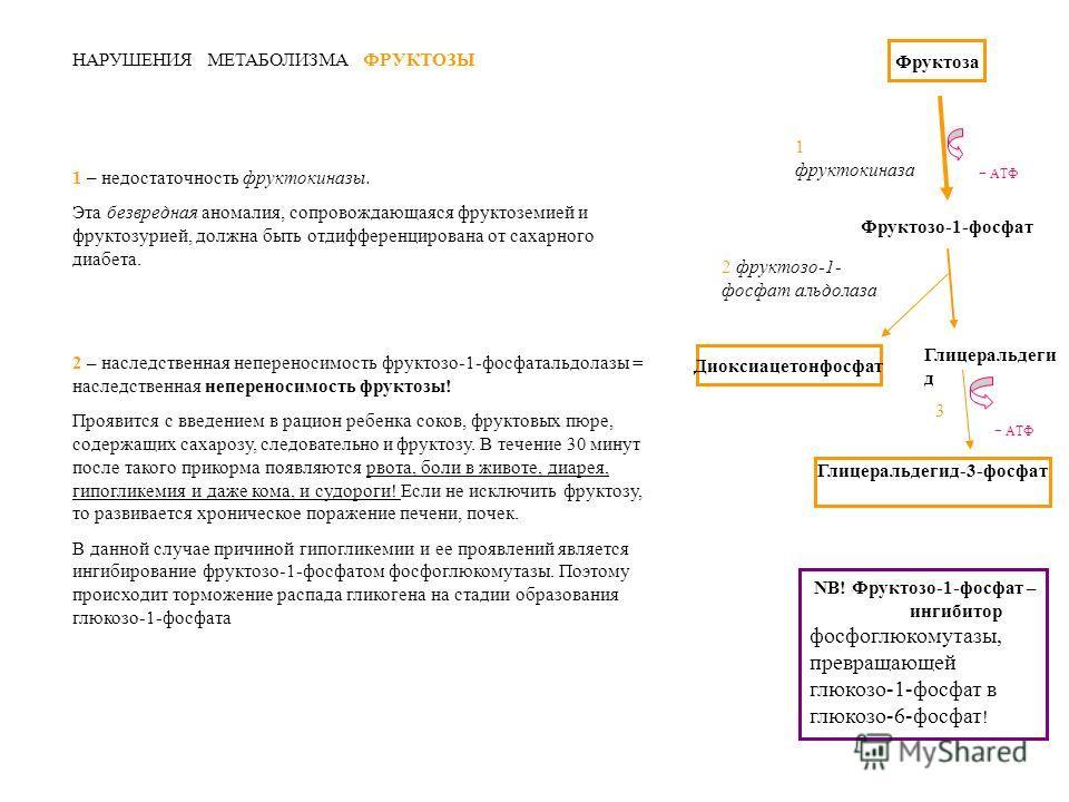 Фруктоза - АТФ 1 фруктокиназа Фруктозо-1-фосфат 2 фруктозо-1- фосфат альдолаза Диоксиацетонфосфат Глицеральдеги д - АТФ Глицеральдегид-3-фосфат 3 НАРУШЕНИЯ МЕТАБОЛИЗМА ФРУКТОЗЫ 1 – недостаточность фруктокиназы. Эта безвредная аномалия, сопровождающая