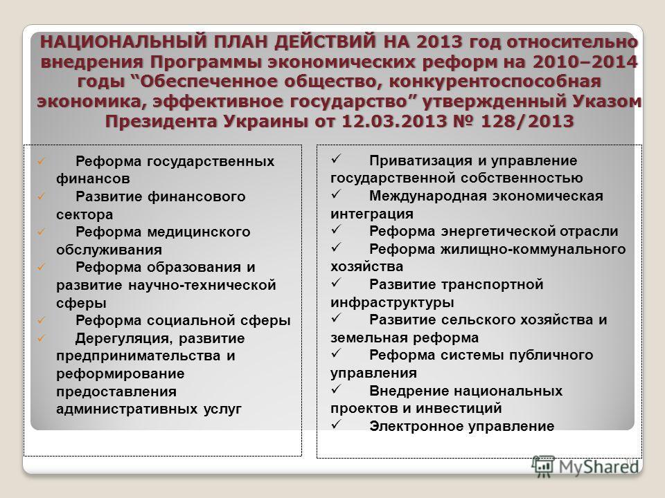 НАЦИОНАЛЬНЫЙ ПЛАН ДЕЙСТВИЙ НА 2013 год относительно внедрения Программы экономических реформ на 2010–2014 годы Обеспеченное общество, конкурентоспособная экономика, эффективное государство утвержденный Указом Президента Украины от 12.03.2013 128/2013