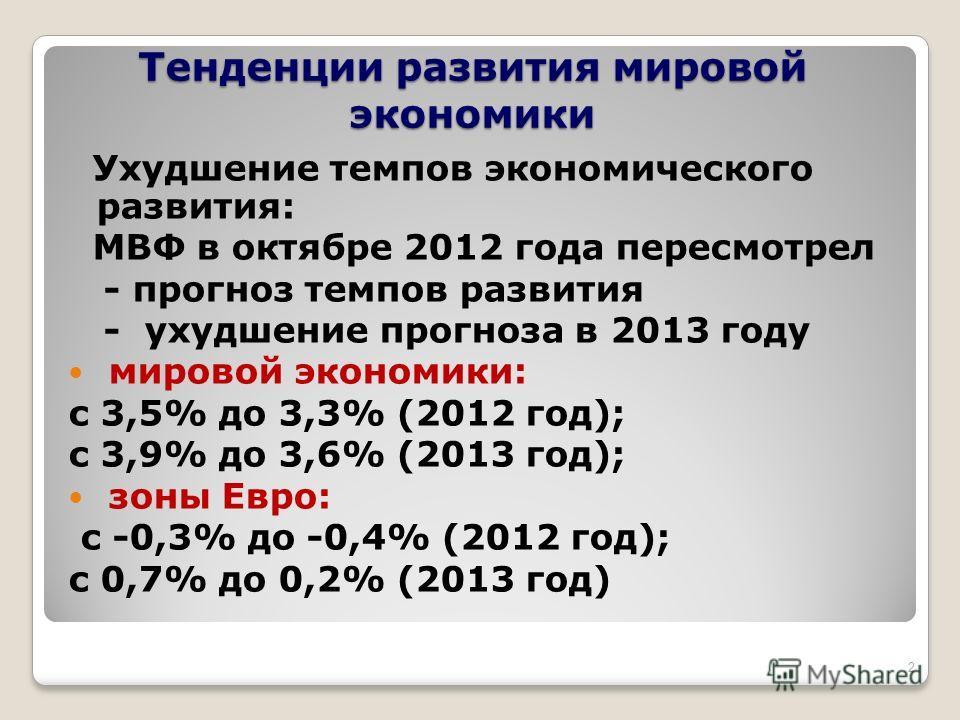 Тенденции развития мировой экономики Ухудшение темпов экономического развития: МВФ в октябре 2012 года пересмотрел - прогноз темпов развития - ухудшение прогноза в 2013 году мировой экономики: с 3,5% до 3,3% (2012 год); с 3,9% до 3,6% (2013 год); зон
