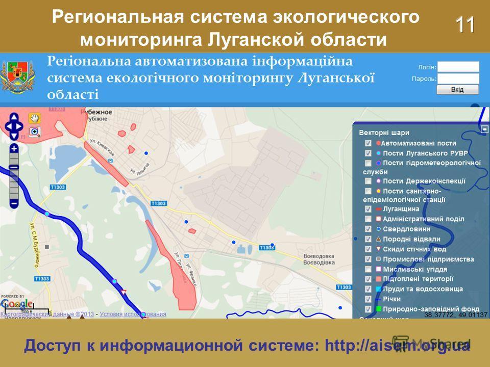 Региональная система экологического мониторинга Луганской области Доступ к информационной системе: http://aisem.org.ua