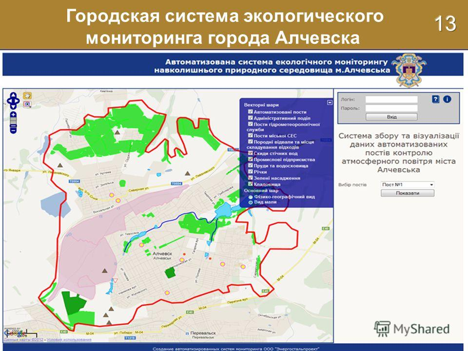 Городская система экологического мониторинга города Алчевска