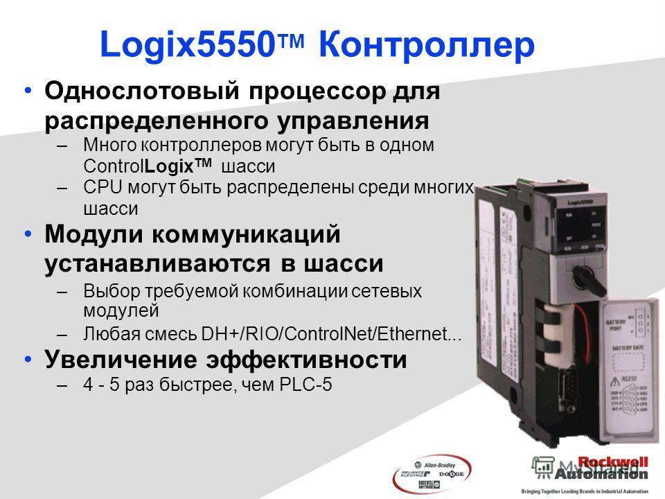 Logix5550 TM Контроллер Однослотовый процессор для распределенного управления –Много контроллеров могут быть в одном ControlLogix TM шасси –CPU могут быть распределены среди многих шасси Модули коммуникаций устанавливаются в шасси –Выбор требуемой ко