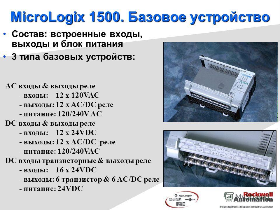 MicroLogix 1500. Базовое устройство Состав: встроенные вxоды, выxоды и блок питания 3 типа базовых устройств: AC входы & выходы реле - входы: 12 x 120VAC - выходы: 12 x AC/DC реле - питание: 120/240V AC DC входы & выходы реле - входы: 12 x 24VDC - вы