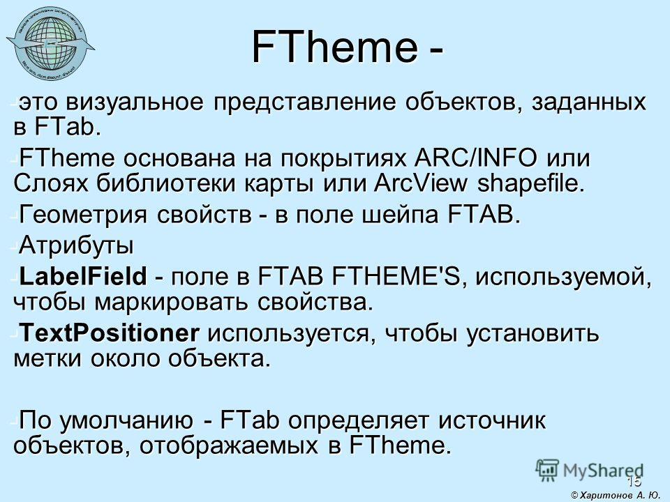 15 FTheme - это визуальное представление объектов, заданных в FTab. это визуальное представление объектов, заданных в FTab. FTheme основана на покрытиях ARC/INFO или Слоях библиотеки карты или ArcView shapefile. FTheme основана на покрытиях ARC/INFO