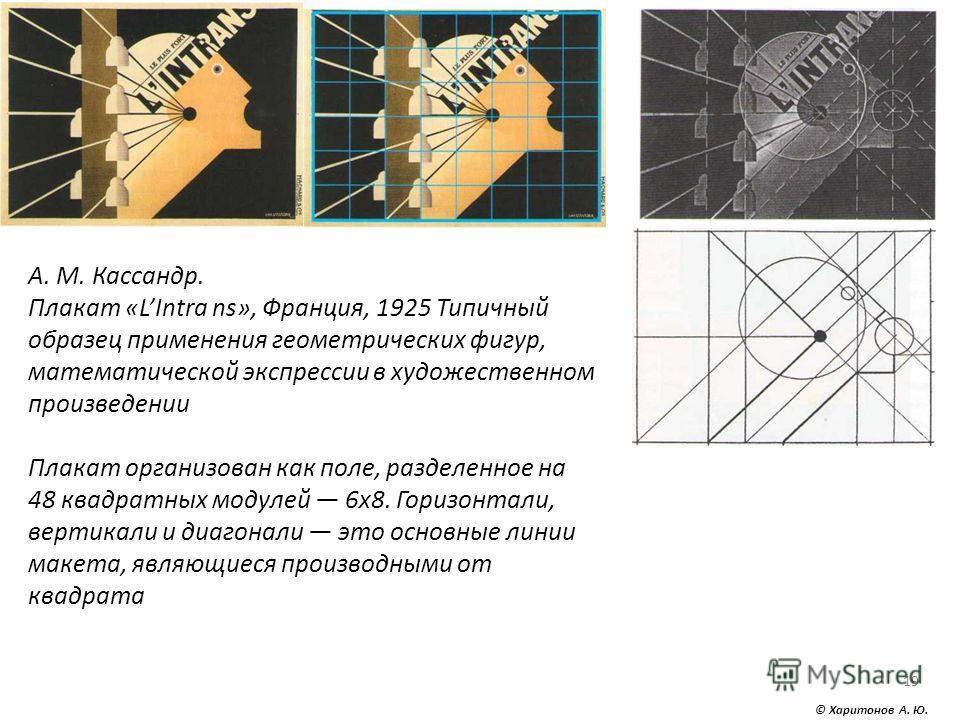 © Харитонов А. Ю. 19 А. М. Кассандр. Плакат «LIntra ns», Франция, 1925 Типичный образец применения геометрических фигур, математической экспрессии в художественном произведении Плакат организован как поле, разделенное на 48 квадратных модулей 6x8. Го