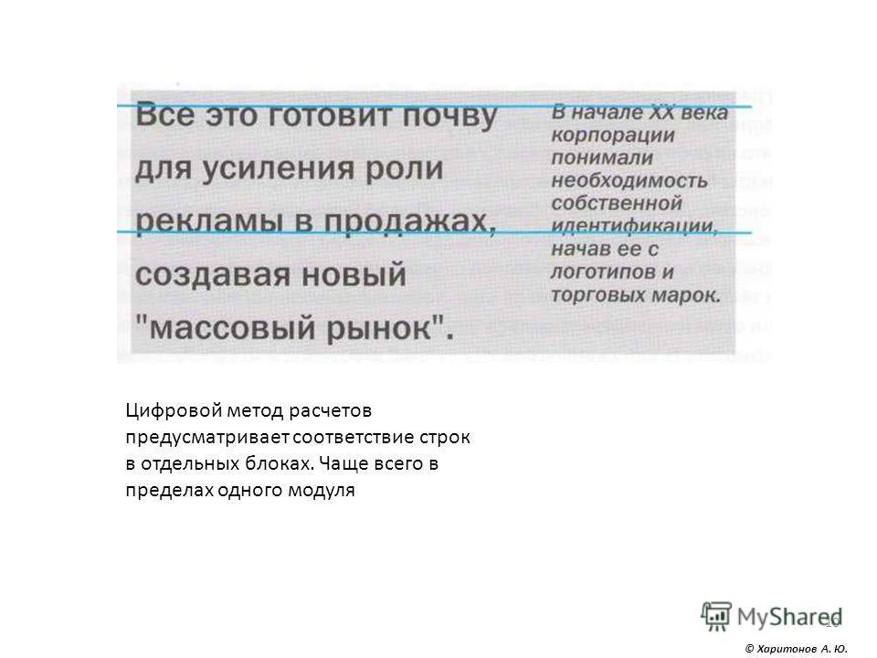 © Харитонов А. Ю. 10 Цифровой метод расчетов предусматривает соответствие строк в отдельных блоках. Чаще всего в пределах одного модуля