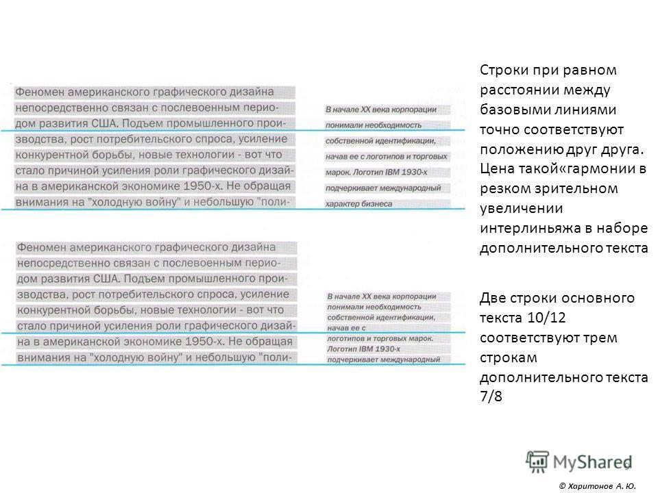 © Харитонов А. Ю. 9 Строки при равном расстоянии между базовыми линиями точно соответствуют положению друг друга. Цена такой«гармонии в резком зрительном увеличении интерлиньяжа в наборе дополнительного текста Две строки основного текста 10/12 соотве
