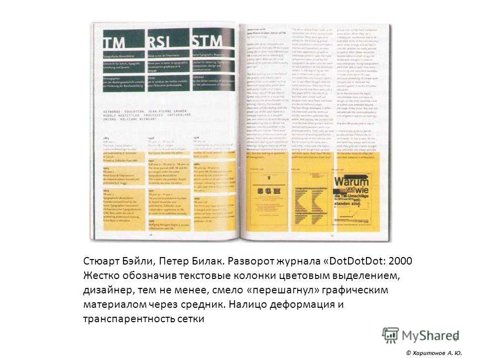 8 Стюарт Бэйли, Петер Билак. Разворот журнала «DotDotDot: 2000 Жестко обозначив текстовые колонки цветовым выделением, дизайнер, тем не менее, смело «перешагнул» графическим материалом через средник. Налицо деформация и транспарентность сетки