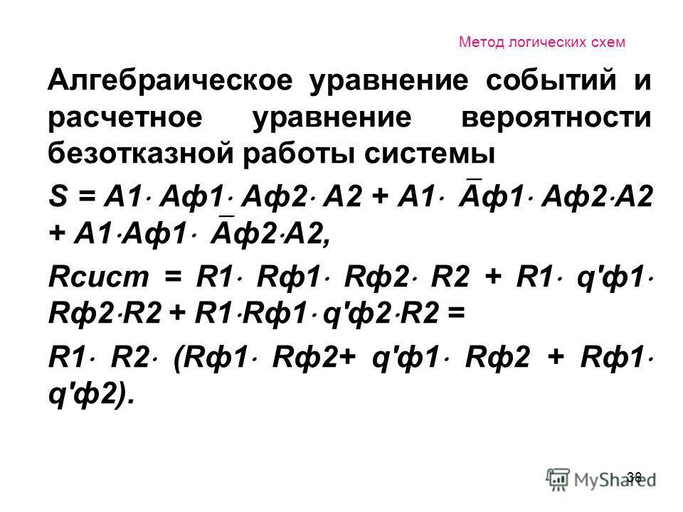 38 Метод логических схем Алгебраическое уравнение событий и расчетное уравнение вероятности безотказной работы системы S = А1 Аф1 Аф2 А2 + А1 Аф1 Аф2 А2 + А1 Аф1 Аф2 А2, Rсист = R1 Rф1 Rф2 R2 + R1 q'ф1 Rф2 R2 + R1 Rф1 q'ф2 R2 = R1 R2 (Rф1 Rф2+ q'ф1 R