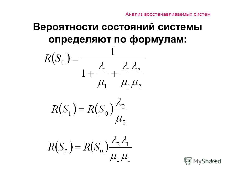 60 Анализ восстанавливаемых систем Вероятности состояний системы определяют по формулам: