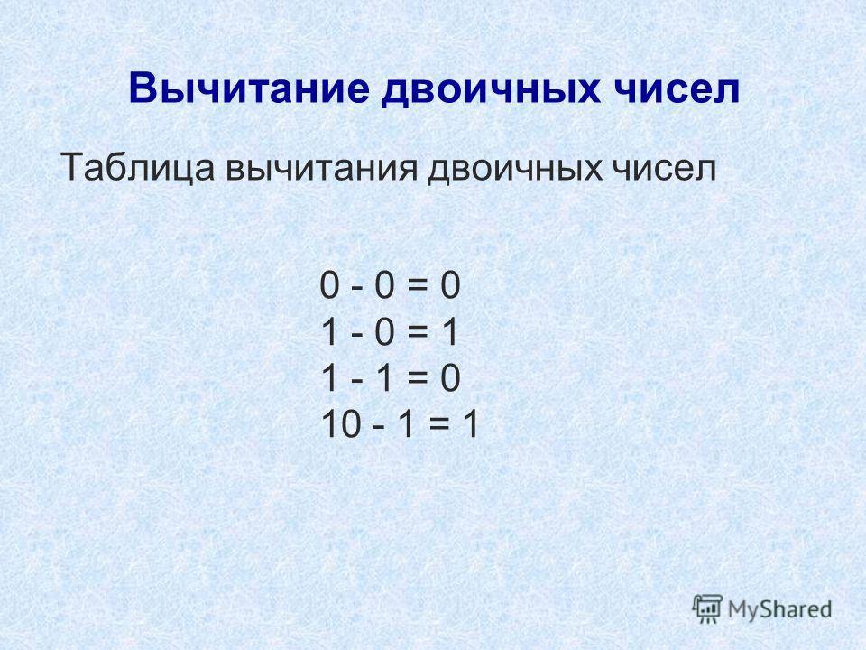 Вычитание двоичных чисел Таблица вычитания двоичных чисел 0 - 0 = 0 1 - 0 = 1 1 - 1 = 0 10 - 1 = 1