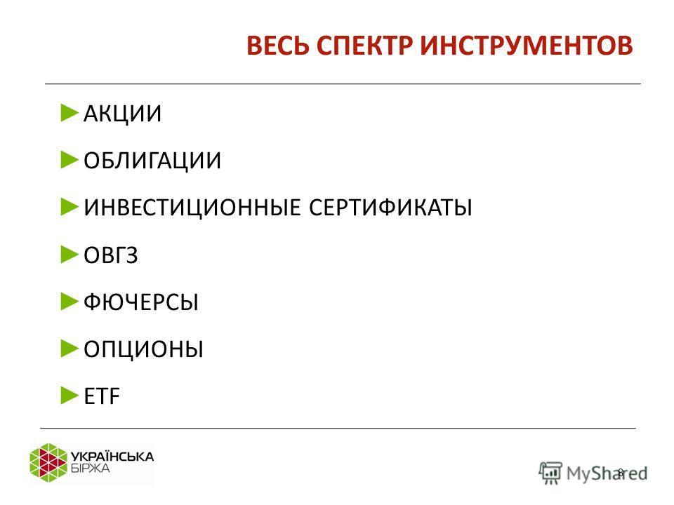 8 АКЦИИ ОБЛИГАЦИИ ИНВЕСТИЦИОННЫЕ СЕРТИФИКАТЫ ОВГЗ ФЮЧЕРСЫ ОПЦИОНЫ ETF ВЕСЬ СПЕКТР ИНСТРУМЕНТОВ 8
