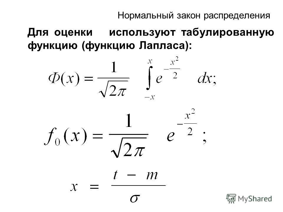 Нормальный закон распределения Для оценки используют табулированную функцию (функцию Лапласа):