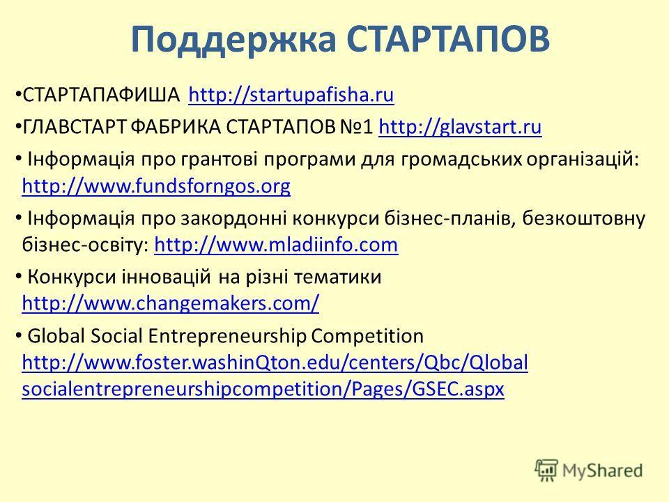Поддержка СТАРТАПОВ СТАРТАПАФИША http://startupafisha.ruhttp://startupafisha.ru ГЛАВСТАРТ ФАБРИКА СТАРТАПОВ 1 http://glavstart.ruhttp://glavstart.ru Інформація про грантові програми для громадських організацій: http://www.fundsforngos.org http://www.