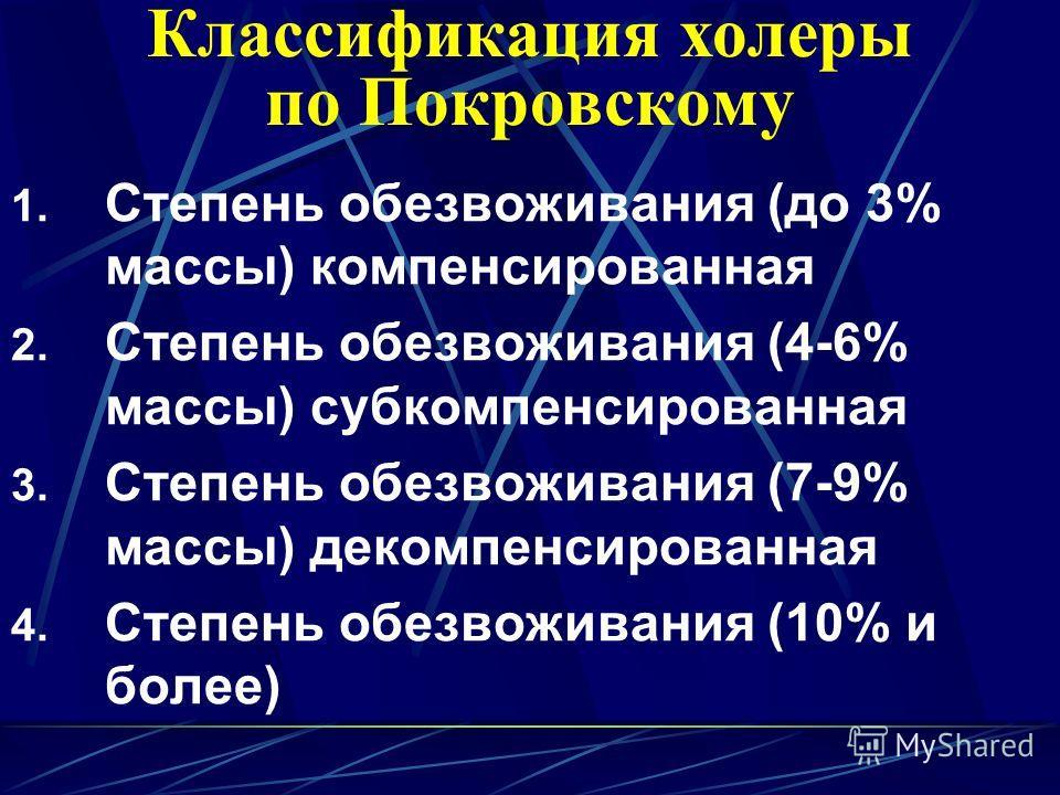 Классификация холеры по Покровскому 1. Степень обезвоживания (до 3% массы) компенсированная 2. Степень обезвоживания (4-6% массы) субкомпенсированная 3. Степень обезвоживания (7-9% массы) декомпенсированная 4. Степень обезвоживания (10% и более)