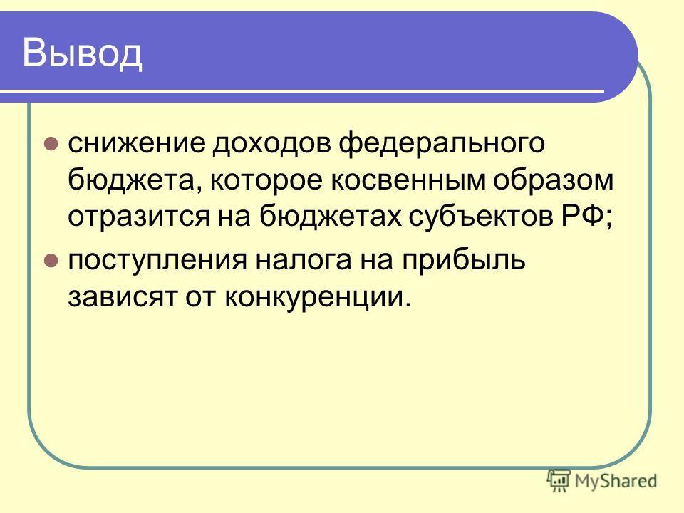 Вывод снижение доходов федерального бюджета, которое косвенным образом отразится на бюджетах субъектов РФ; поступления налога на прибыль зависят от конкуренции.