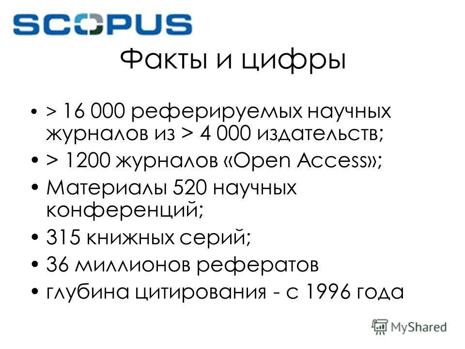 Факты и цифры > 16 000 реферируемых научных журналов из > 4 000 издательств; > 1200 журналов «Open Access»; Материалы 520 научных конференций; 315 книжных серий; 36 миллионов рефератов глубина цитирования - с 1996 года