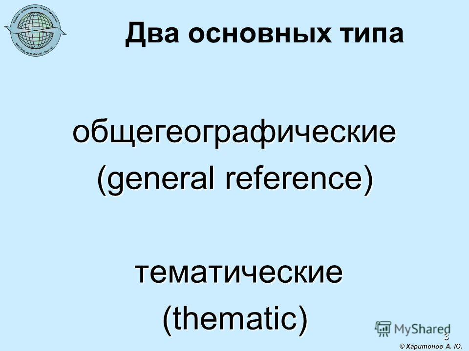 3 Два основных типа общегеографические (general reference) тематические тематические(thematic) © Харитонов А. Ю.